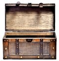 Open old wooden chest with ornamental forging and leather straps isolated on white background Royalty Free Stock Photo