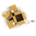 Open packages with mouse Royalty Free Stock Image
