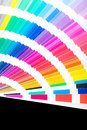 Open pantone sample colors catalogue colour swatches book rainbow Stock Photos