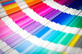 Open pantone sample colors catalogue colour swatches book rainbow Stock Photography