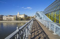 Open passage of a footbridge big moscow russia Stock Photos