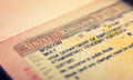 Open passport, tourist visa Royalty Free Stock Photo