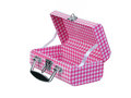 Open pink plaid lunch box Royalty Free Stock Photo