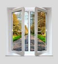 Open plastic window with a kind on road Royalty Free Stock Images