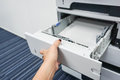 Open the printer tray Royalty Free Stock Photo