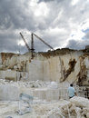 Open quarry of white marble on the east coast sardinia orosei Stock Images