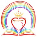 The open rainbow Bible and the sacrificial heart of Christ with Royalty Free Stock Photo