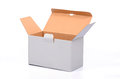 Open recycled cardboard box blank recycled cardboard box open empty recycled cardboard box Royalty Free Stock Images