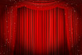 Open red curtains with glitter opera or theater background Royalty Free Stock Photo