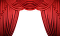 Open red curtains on white background. Theater or movie presentation with space for text Royalty Free Stock Photo