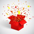 Open Red Gift Box and Confetti. Christmas Background. Vector Illustration Royalty Free Stock Photo