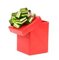 Open red gift box with green golden bow white background Stock Photography