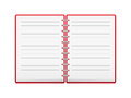 Open red notebook place text Stock Photo