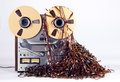 Open Reel Tape Deck Recorder Player with Messy Entangled Tape Royalty Free Stock Photo