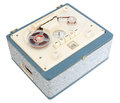 Open reel tape recorder vintage portable in a case on white background with clipping path Stock Image