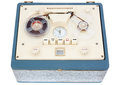 Open reel tape recorder vintage portable in a case on white background with clipping path Stock Photos
