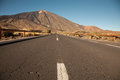 Open road on tenerife the to leading to the volcano teide island Stock Photography