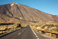 Open road on tenerife the to leading to the volcano teide island Royalty Free Stock Images