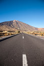 Open road on tenerife the to leading to the volcano teide island Stock Images