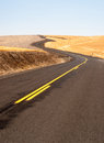 Open Road Two Lane Highway Oregon Landscape Harvested Farmland Royalty Free Stock Photo