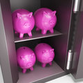 Open safe with piggy showing safe savings and bank accounts Royalty Free Stock Image