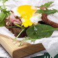 Open sandwich made from rye bread, ham, eggs Royalty Free Stock Photo