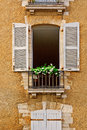 Open shutter french window with wooden Stock Photos