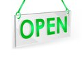 Open sign transparent on a white wall Royalty Free Stock Photo