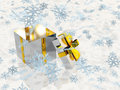 Open silver gift box and snowflakes Royalty Free Stock Photo