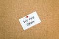 We are open sticky note text concept Royalty Free Stock Photo