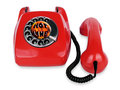 Open telephone vintage red phone lovely from s Royalty Free Stock Images