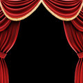 Open theater drapes or stage curtains with a black background Royalty Free Stock Image