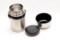 Open thermos food container over white Royalty Free Stock Photography