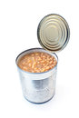 Open tin can of beans on white Royalty Free Stock Images