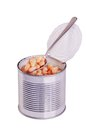 Open tin can with white beans Stock Images