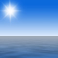 Open water illustration of sea with blue sky and shining sun Royalty Free Stock Photos