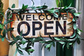 Open and welcome sign Royalty Free Stock Photo