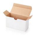 Open white blank carton box on with clipping path Royalty Free Stock Photos