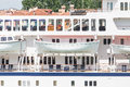 Open white lifeboats on cruise ship classic a luxury Stock Photo