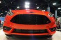 Open wide ford fiesta st at auto show new on display stand miami international front view of exaggerated intake radiator grille Royalty Free Stock Photos