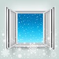 Open window and falling snow the opened plastic winter theme Stock Images