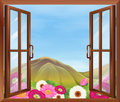 An open window with flowers outside illustration of Stock Photography