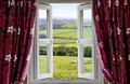 Open window with a rural view Stock Images