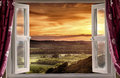 Open window to rural landscape view through an onto and sunset Stock Photos