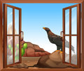 An open window with a view of the bird illustration above rock Royalty Free Stock Image