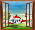 An open window with a view of the chopper illustration Royalty Free Stock Photos