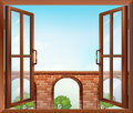 An open window with a view of the gate illustration Stock Photography