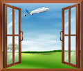 An open window with a view of the plane illustration Royalty Free Stock Image
