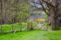 Open wooden gate in countryside Royalty Free Stock Photo