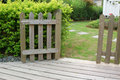 Open wooden gate and fence Royalty Free Stock Images